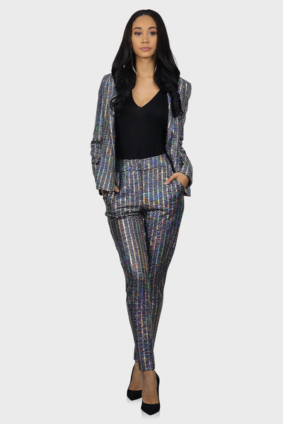 Steady Shining Sequin Blazer on model front view