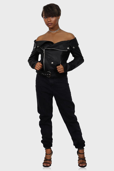 Talk to Me Nice Off Shoulder Leather Jacket on model front view