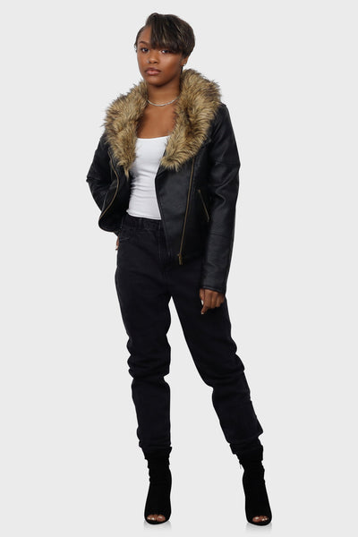 Leather jacket with fur black on model front view