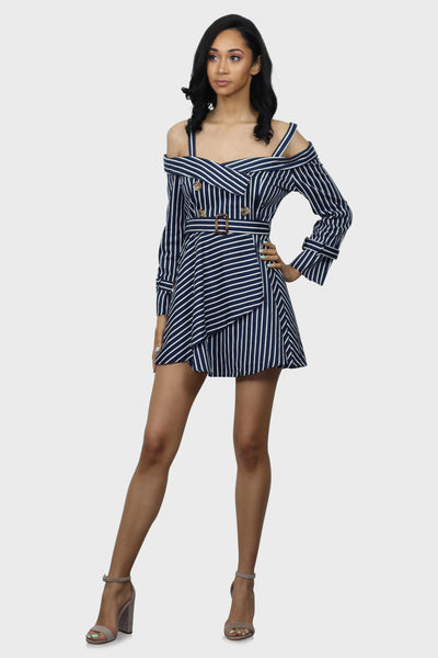 Blue and White Striped Dress with off shoulder neckline on model front view