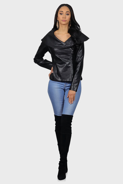 Faux leather jacket black on model front view