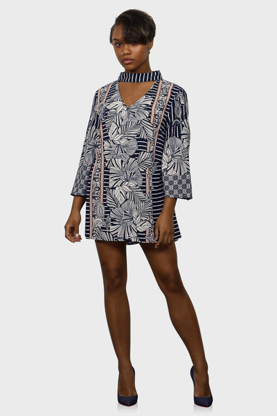 Tropic Breeze tunic dress blue on model front view