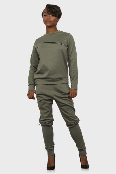 Jogger set for women olive green on model front view