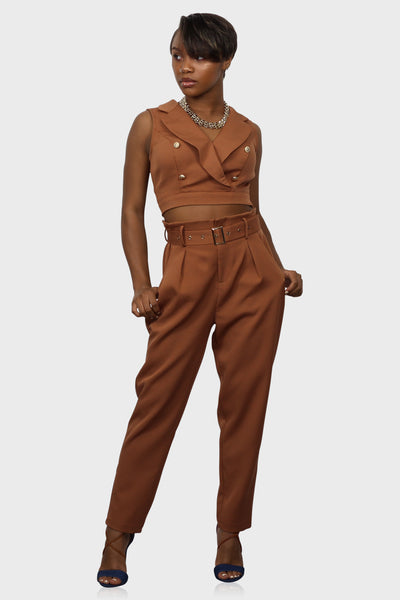 Always on Time High Waisted Pants Set on model front view