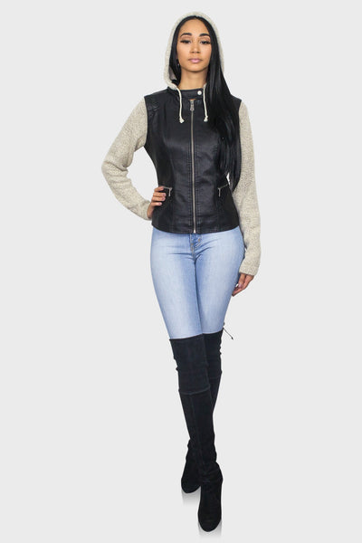 Black leather jacket with hood on model front view