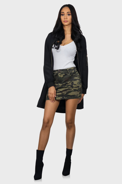 Coffee Run Black bomber jacket longline on model front view 2