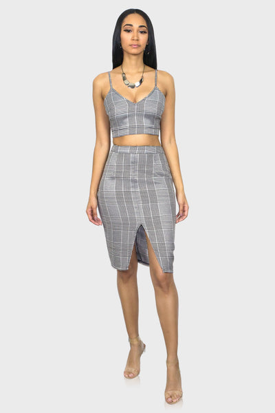 Houndstooth two piece skirt set on model front view