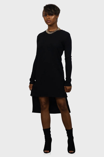 Sweater dress long sleeve black with high low hem on model front view