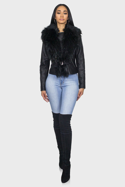 Black leather jacket with fur collar on model front view