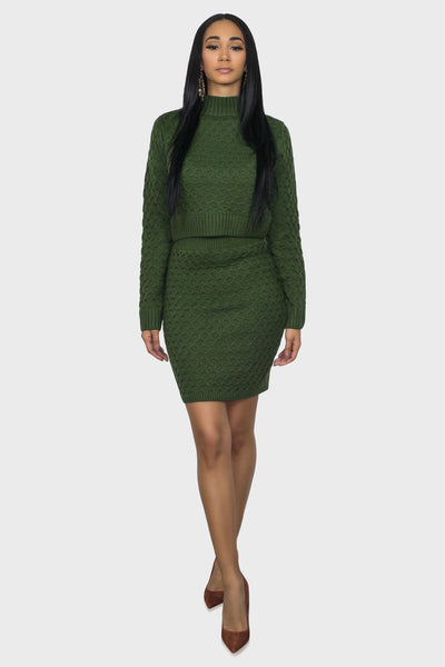 Sweater skirt set green on model front view
