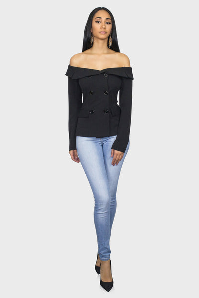 Black Off Shoulder Blazer on model front view