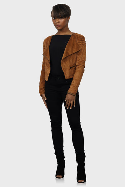 Rust faux suede cropped jacket on model front view
