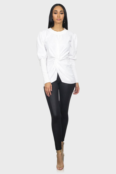White puff sleeve top on model front view