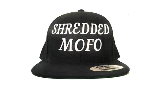 Shredded Mofo Snap Back: Black with White Embroidery