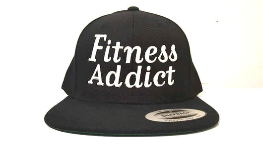 Fitness Addict Snap Back: Black with White Embroidery