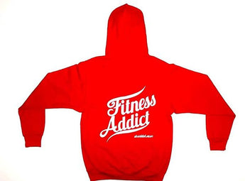 Shredded Mofo Red Pullover Hoodie with Fitness Addict on the back: (With White Letters)
