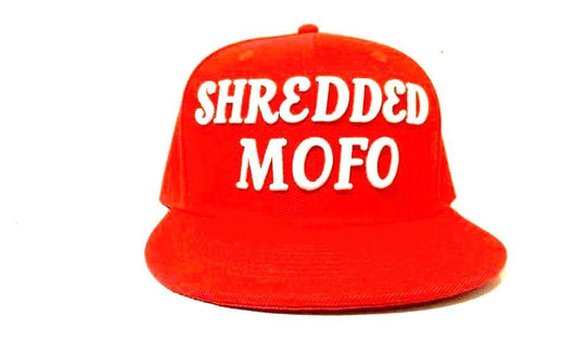 Limited Edition Shredded Mofo Snap Back: Red with White Embroidery