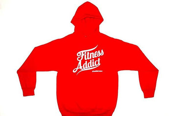 Fitness Addict Pullover Hoodie: Red (With White Letters)