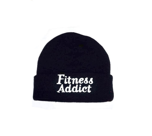 Fitness Addict Beanie: Black with White Embroidery
