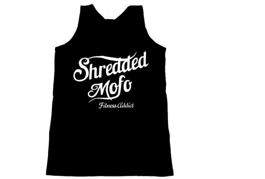 Shredded Mofo Tank Top: Black (with white letters)