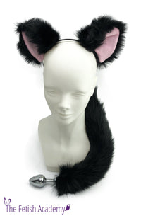 Black and Pink Faux Fox Ears and Tail Set - Black Tail - THE FETISH ACADEMY