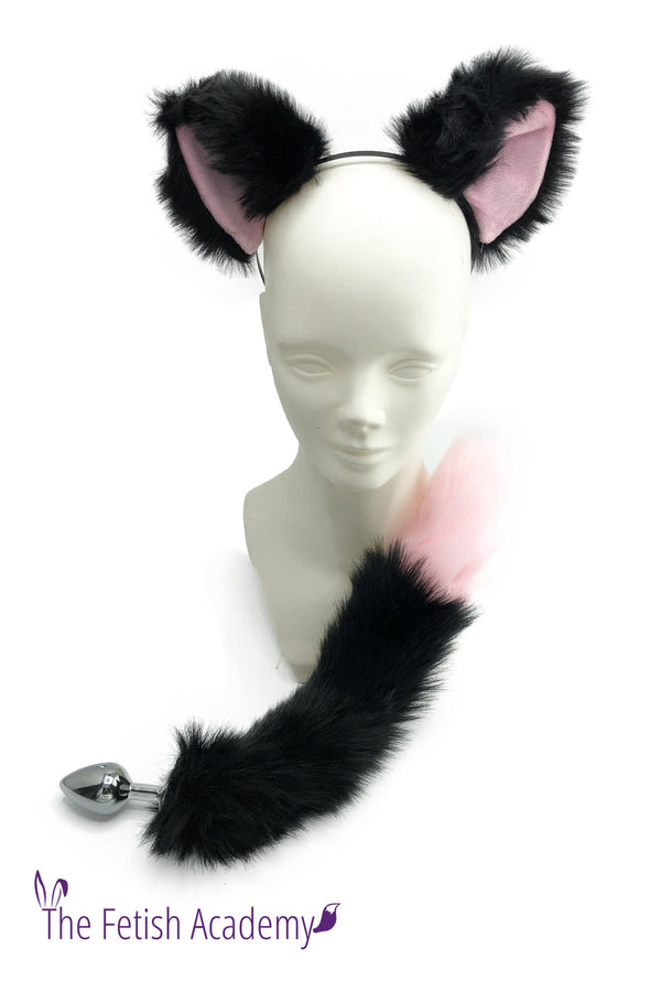 Black and Pink Faux Fox Tail and Ears Set - Black and Pink Tail - THE FETISH ACADEMY