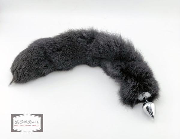 "20"" Charcoal Dyed White Fox Tail Butt Plug"