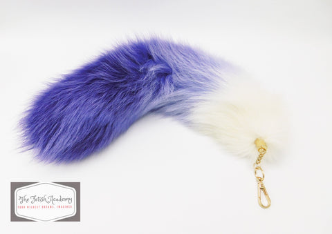 "14""-16"" Genuine Fox Fur Clip on Tail - Purple Gradient - THE FETISH ACADEMY"