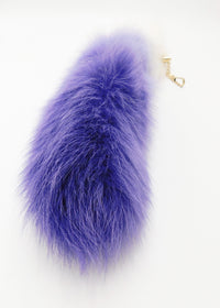 "14""-16"" Dyed White Fox Clip on Tail - Purple Gradient - TFA"