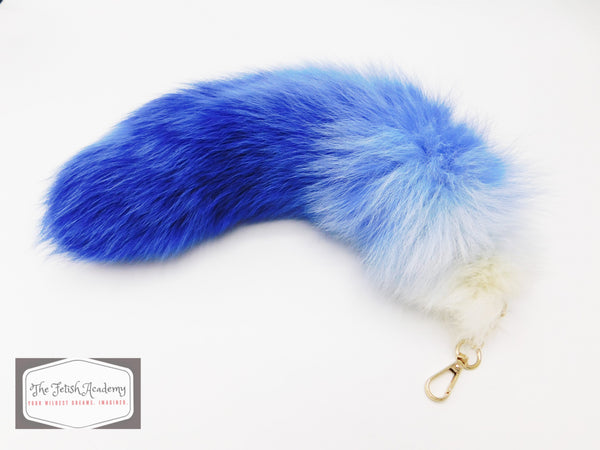 "14""-16"" Genuine Fox tail Clip on Tail - Blue Gradient - THE FETISH ACADEMY"