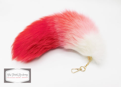 "14""-16"" Genuine Fox Fur Clip on Tail - Red Gradient - THE FETISH ACADEMY"