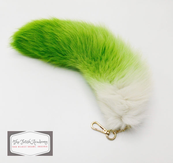 "14""-16"" Genuine Fox Fur Clip on Tail - Green Gradient - THE FETISH ACADEMY"