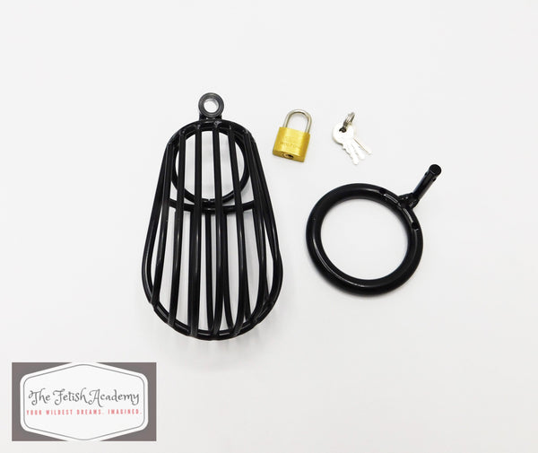 Black Bird Cage Styled Chastity Device - THE FETISH ACADEMY