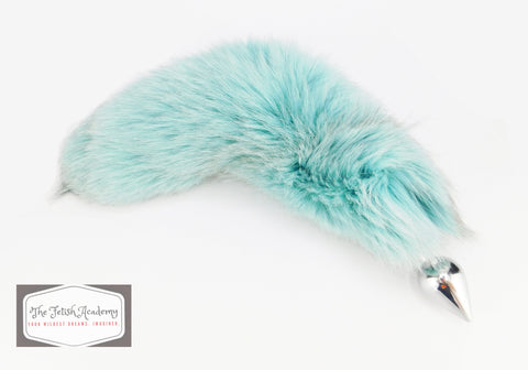 Teal Dyed White Fox Tail Butt Plug