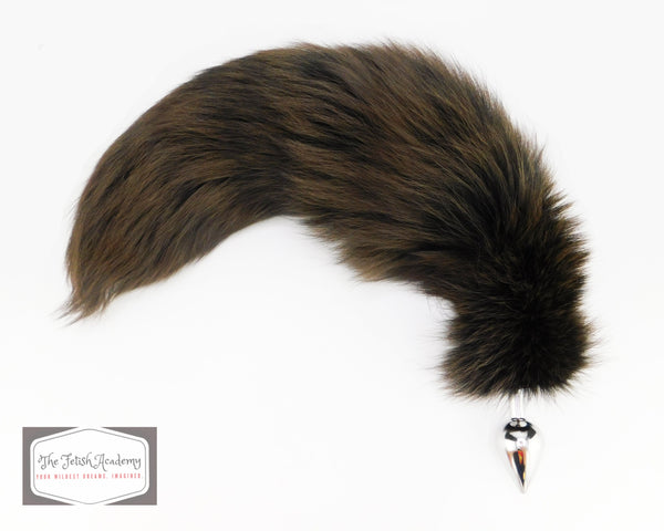 Brown Dyed White Fox Tail Butt Plug
