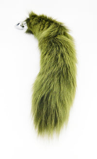 "20"" Dyed White Fox Tail Butt Plug - Army Green - THE FETISH ACADEMY"