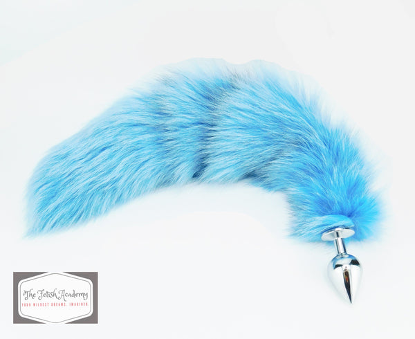 Baby Blue Dyed Platinum Fox Tail Butt Plug