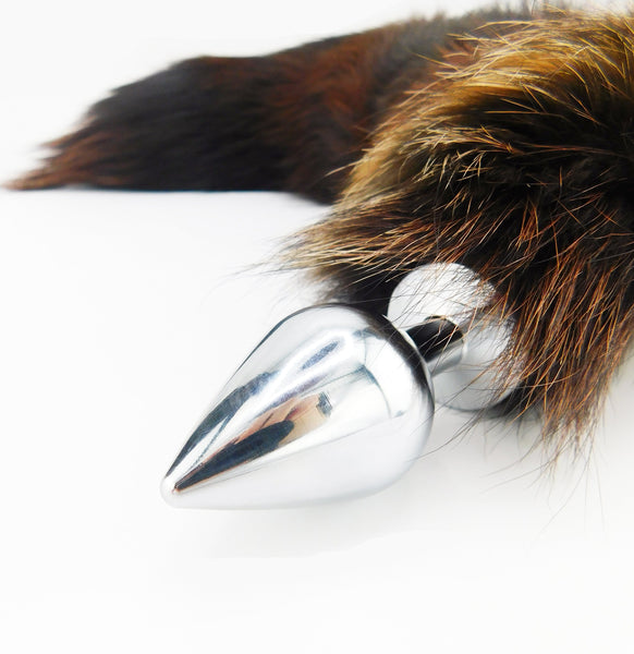 Mahogany Dyed Silver Fox Tail Stainless Steel Plug