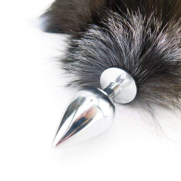 Black and Blue Dyed Silver Fox Tail Stainless Steel Plug