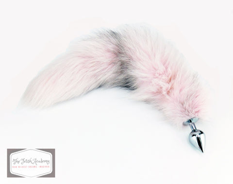 Pale Pink Dyed Indigo Fox Tail Butt Plug