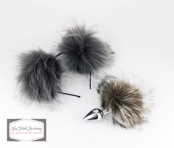 Silver Raccoon Fur Bunny Plug and Ears Set - THE FETISH ACADEMY