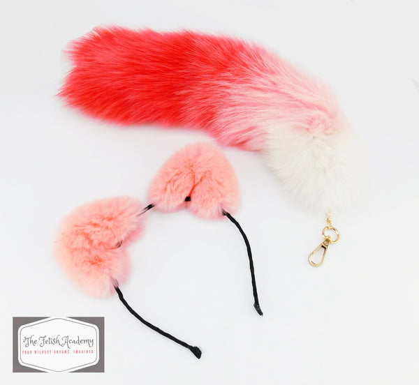 Red Gradient Faux Fox Tail Clip On and Ears Set