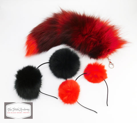 Red Clip On Fox Tail and Ears Set