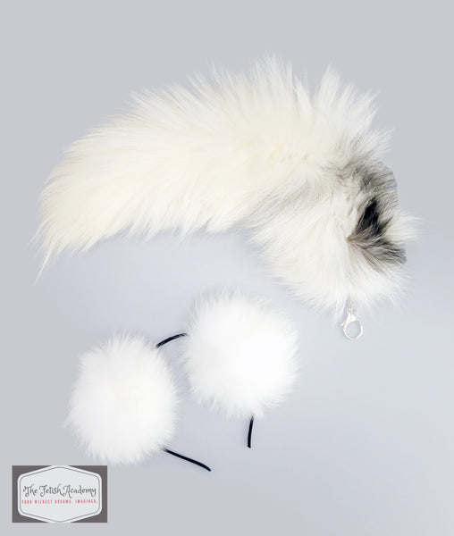 Indigo Fox Tail Clip On and Ears Set