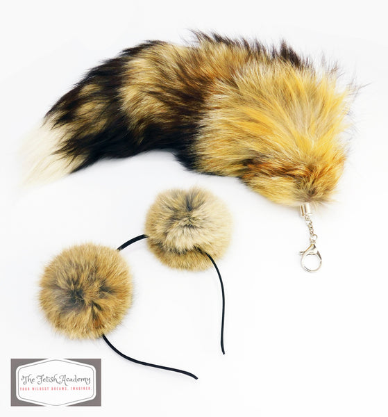 Tan Clip On Fox Tail and Ears Set