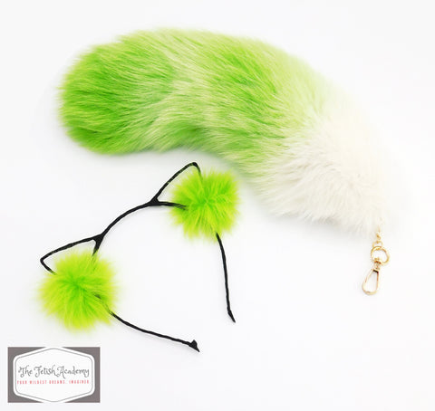 Green Gradient Faux Fox Tail Clip On and Ears Set