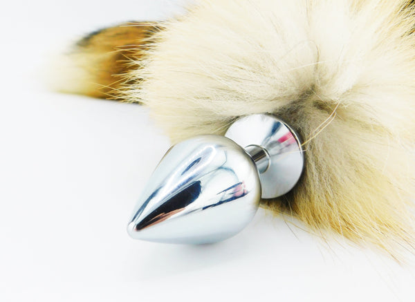 "20""-23"" Genuine American Red Fox Tail Stainless Steel Butt Plug"