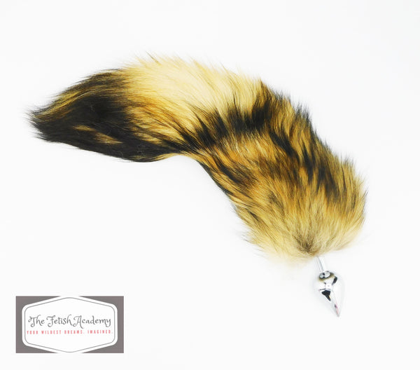 "13""-14"" Genuine Finn Raccoon Tail Butt Plug - THE FETISH ACADEMY"