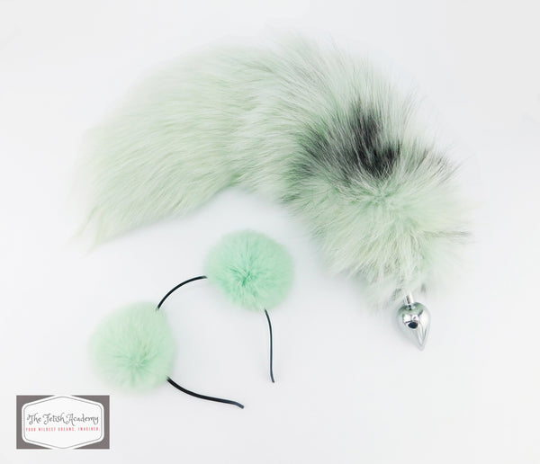 Mint Dyed Platinum Fox Tail Butt Plug and Ears Set