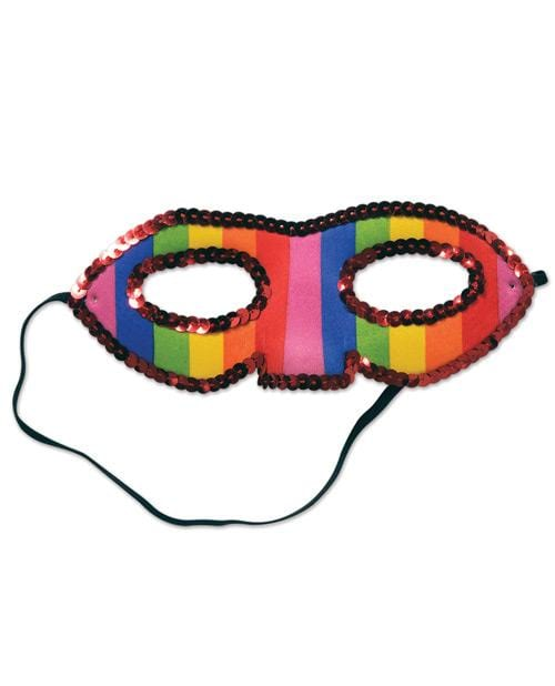 Sequined Rainbow Half Mask - THE FETISH ACADEMY